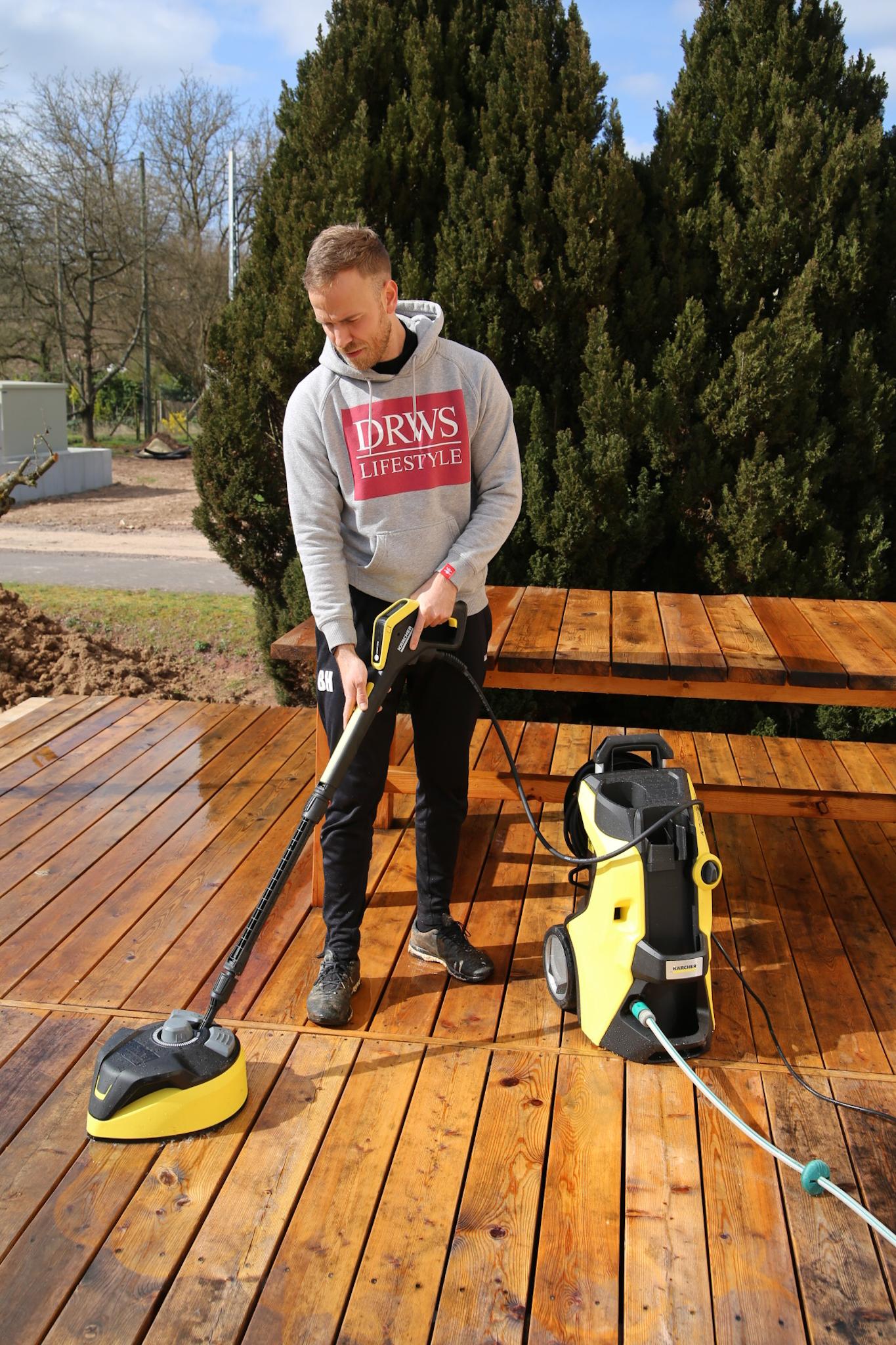 Terrassenreinigung mit dem neuen Kärcher K7 Premium Smart Control Home Terrasse Hochterrasse Holzterrasse sibirische Lärche reinigen selber bauen diy garten